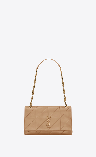 SAINT LAURENT Jamie Woman Medium Jamie bag in Sahara beige patchwork leather a_V4