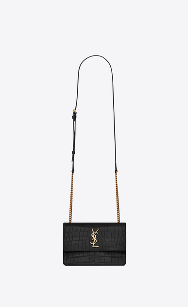 SAINT LAURENT Sunset Woman Small soft-structured Sunset bag in embossed crocodile-look black leather a_V4