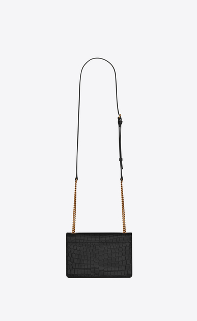 SAINT LAURENT Sunset Woman Small soft-structured Sunset bag in embossed crocodile-look black leather b_V4