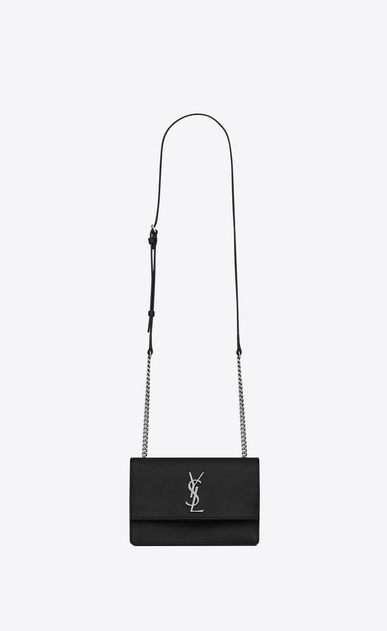SAINT LAURENT Sunset Woman Small soft-structured Sunset bag in black grained leather a_V4