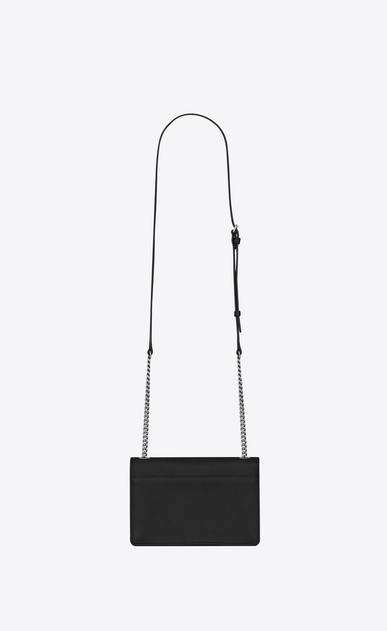 SAINT LAURENT Sunset Woman Small soft-structured Sunset bag in black grained leather b_V4