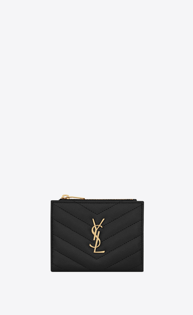 SAINT LAURENT Monogram Matelassé Woman Mogram zip card holder in black textured and quilted leather a_V4