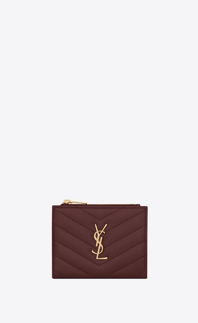 SAINT LAURENT Monogram Matelassé Woman Monogram zip card holder in burgundy textured and quilted leather a_V4