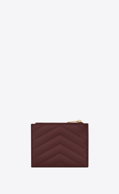 SAINT LAURENT Monogram Matelassé レディース Monogram zip card holder in burgundy textured and quilted leather b_V4