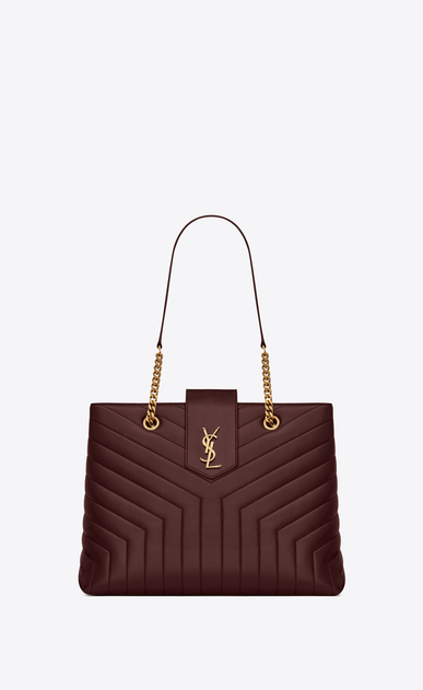 "SAINT LAURENT Monogramme Loulou レディース Large Loulou shopping bag in ""Y""-quilted burgundy leather a_V4"
