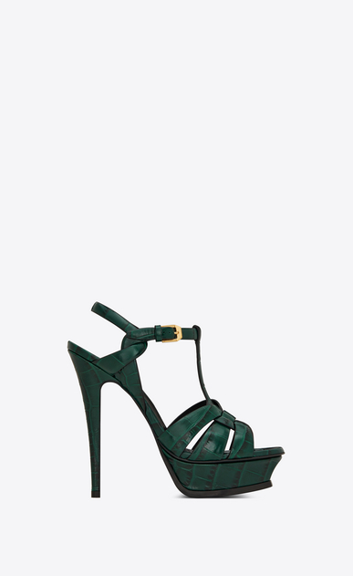 SAINT LAURENT Tribute Woman tribute sandal in crocodile embossed leather a_V4