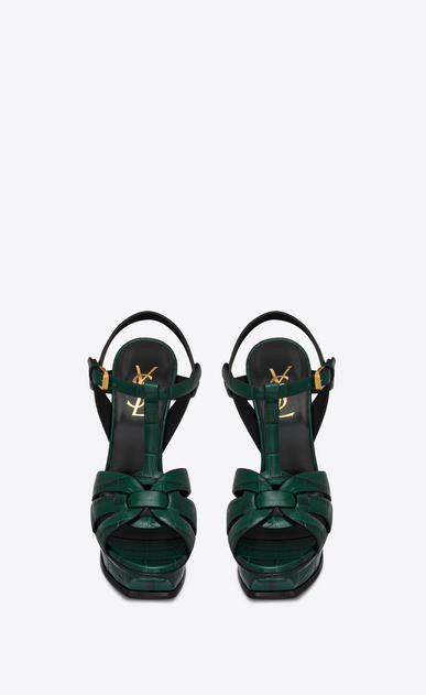 SAINT LAURENT Tribute Woman tribute sandal in crocodile embossed leather b_V4