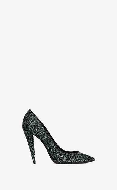 SAINT LAURENT Era Woman Era 110 pump in green glitter a_V4