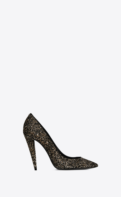 SAINT LAURENT Era Woman Era 110 pump in gold glitter a_V4