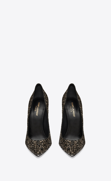 SAINT LAURENT Era Woman Era 110 pump in gold glitter b_V4