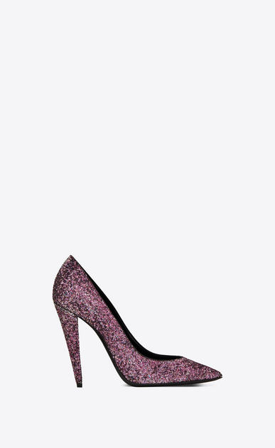 SAINT LAURENT Era Woman Era 110 pump in pink glitter a_V4