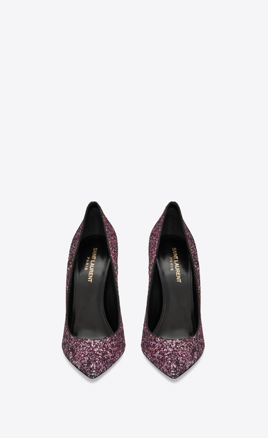 SAINT LAURENT Era Woman Era 110 pump in pink glitter b_V4