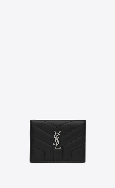 "SAINT LAURENT Monogram Matelassé Woman Loulou card holder in shiny black leather with ""Y"" quilting a_V4"