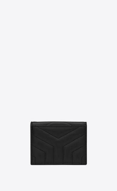 "SAINT LAURENT Monogram Matelassé Woman Loulou card holder in shiny black leather with ""Y"" quilting b_V4"