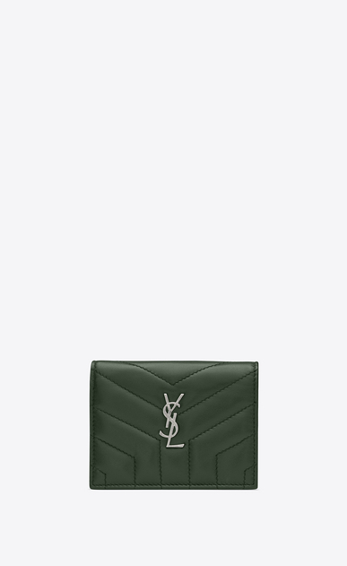 "SAINT LAURENT Monogram Matelassé Woman Loulou card holder in shiny dark green leather with ""Y"" quilting a_V4"