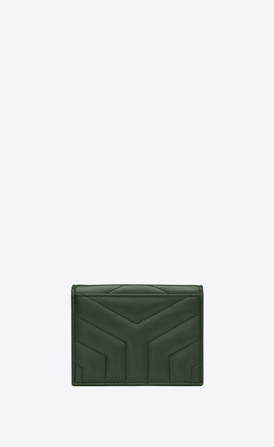 "SAINT LAURENT Monogram Matelassé Woman Loulou card holder in shiny dark green leather with ""Y"" quilting b_V4"