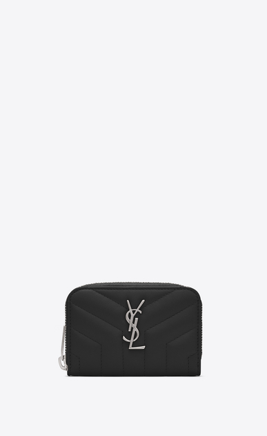 "SAINT LAURENT Monogram Matelassé Woman Loulou zip coin purse in shiny black leather with ""Y"" quilting a_V4"