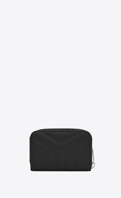 "SAINT LAURENT Monogram Matelassé Woman Loulou zip coin purse in shiny black leather with ""Y"" quilting b_V4"