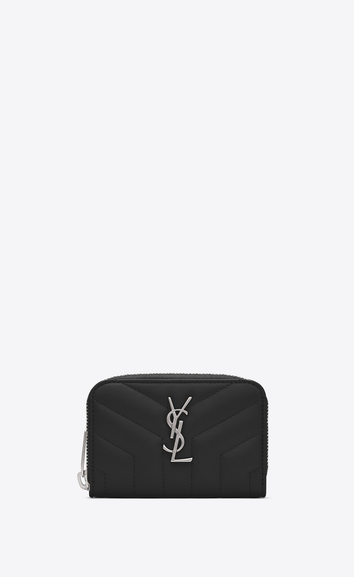 """SAINT LAURENT LOULOU ZIP COIN PURSE IN SHINY BLACK LEATHER WITH """"Y"""" QUILTING"""