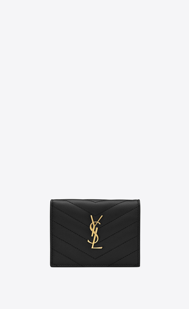 SAINT LAURENT Monogram Matelassé Woman Monogram card holder in black textured and quilted leather a_V4