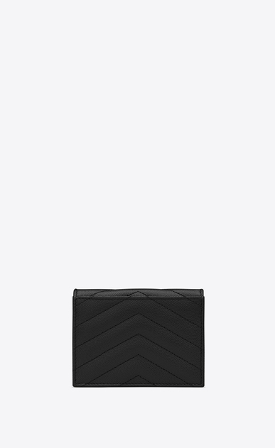 SAINT LAURENT Monogram Matelassé Woman Monogram card holder in black textured and quilted leather b_V4