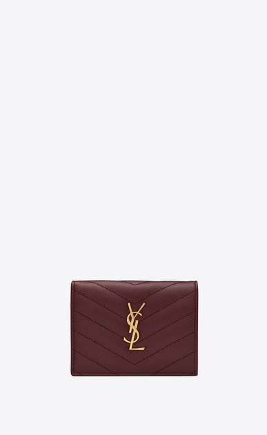 SAINT LAURENT Monogram Matelassé Woman Monogram card holder in burgundy textured and quilted leather a_V4