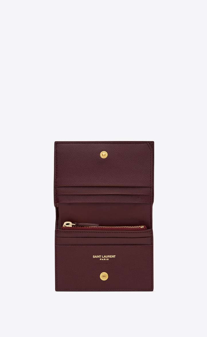 Yves Saint Laurent - Monogram card holder in burgundy textured and quilted  leather - 4 230d136c0e