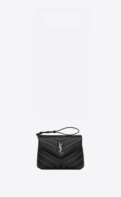 "SAINT LAURENT Mini bags Loulou Woman Loulou studded toy bag in matelassé ""y"" shiny leather b_V4"