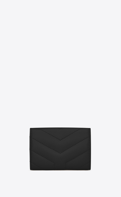 "SAINT LAURENT Monogram Matelassé Woman petite Loulou envelope wallet in shiny black leather with ""Y"" quilting b_V4"