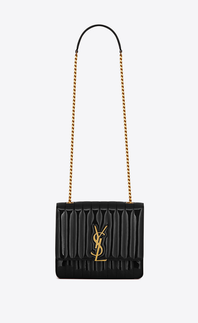 SAINT LAURENT Vicky Woman Large Vicky bag in black patent leather a_V4