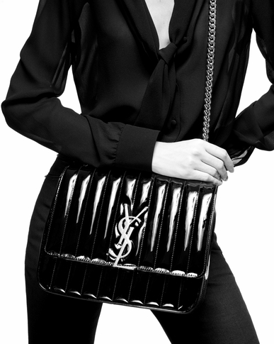 SAINT LAURENT Vicky Woman Large Vicky bag in black patent leather y_V4
