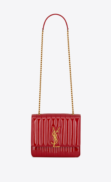 SAINT LAURENT Vicky Woman Large Vicky bag in Eros red patent leather a_V4
