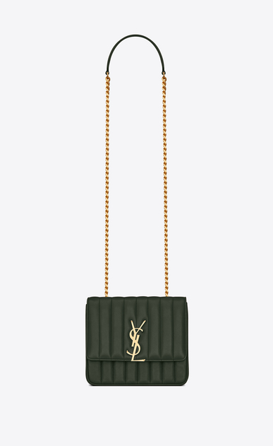 SAINT LAURENT Vicky Donna Borsa Vicky medium con catena in pelle color verde scuro a_V4