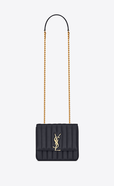 SAINT LAURENT Vicky Woman Medium Vicky chain bag in navy blue leather a_V4