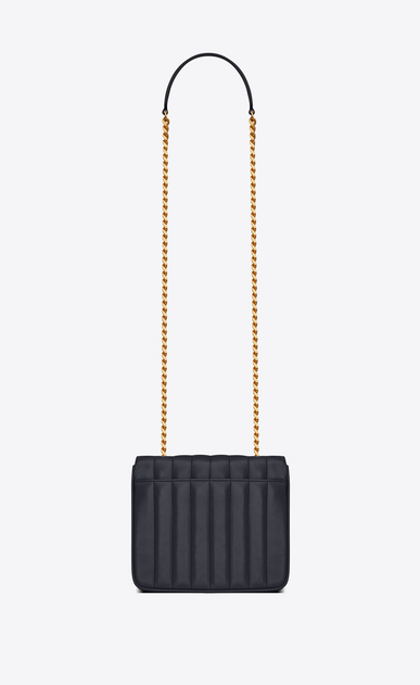 SAINT LAURENT Vicky Woman Medium Vicky chain bag in navy blue leather b_V4
