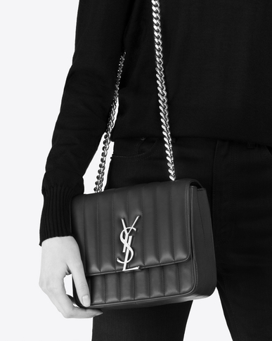 SAINT LAURENT Vicky Woman Medium Vicky chain bag in navy blue leather y_V4