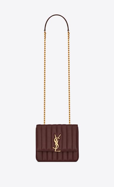 SAINT LAURENT Vicky Donna Borsa Vicky medium con catena in pelle color rosso scuro a_V4