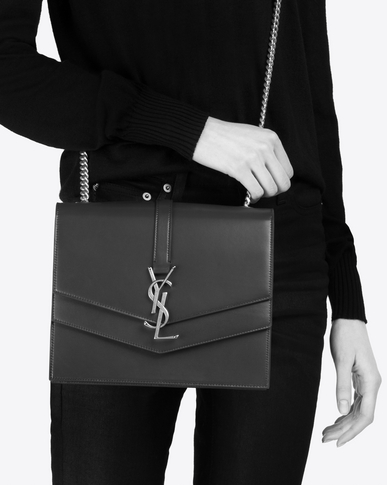 SAINT LAURENT Sulpice Woman Medium Sulpice chain bag in black leather y_V4