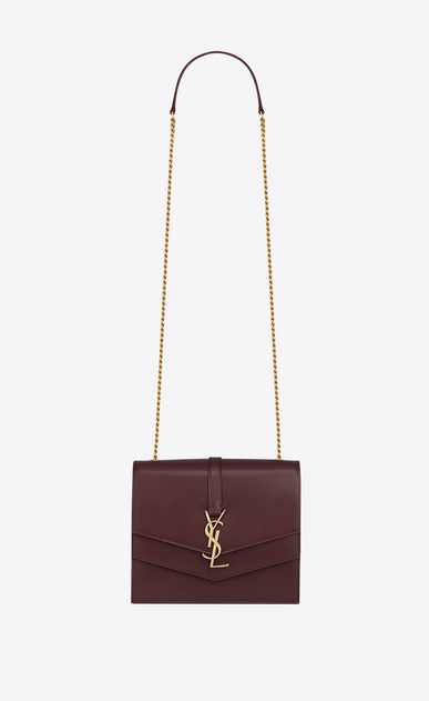 SAINT LAURENT Sulpice Woman Medium Sulpice chain bag in dark red leather a_V4