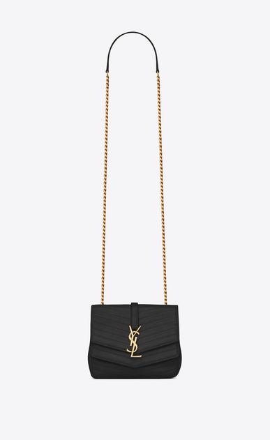 SAINT LAURENT Sulpice Damen Kleine, weiche Sulpice Chain Bag aus schwarzem Leder mit Steppnähten a_V4
