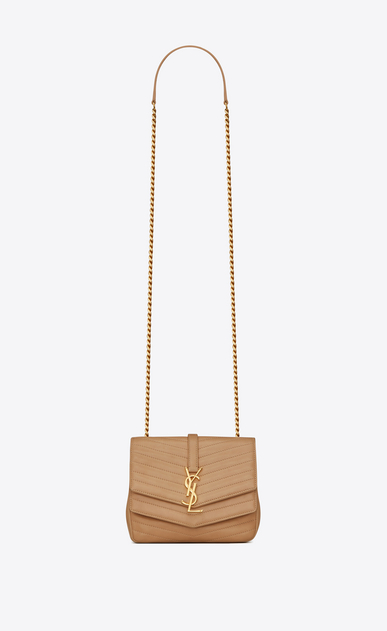 SAINT LAURENT Sulpice Woman Small soft Sulpice chain bag in quilted beige leather a_V4