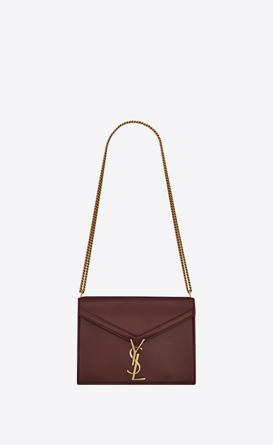 SAINT LAURENT Monogram chain bag Woman Cassandra chain bag in burgundy leather a_V4