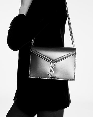 SAINT LAURENT Monogram chain bag Woman Cassandra chain bag in dark red leather y_V4