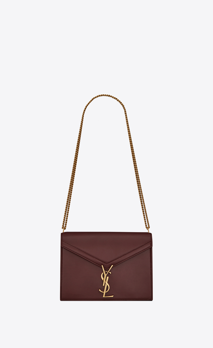 11447f19a Saint Laurent Cassandra Monogram Clasp Bag In Smooth Leather In Dark Red