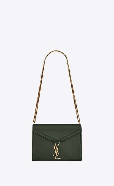 SAINT LAURENT Monogram chain bag Woman Cassandra chain bag in dark green leather a_V4