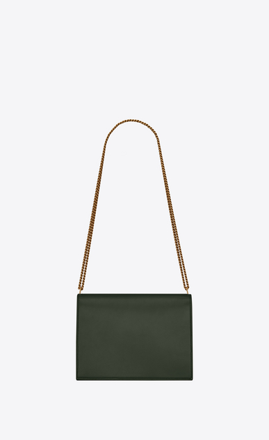 SAINT LAURENT Monogram chain bag Woman Cassandra chain bag in dark green leather b_V4