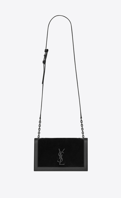 SAINT LAURENT Book bag Damen Book Bag Satcheltasche aus schwarzem Leder und Veloursleder a_V4