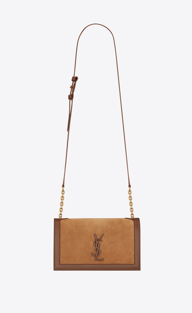 SAINT LAURENT Book bag Damen Book Bag Satcheltasche aus beigem und mokkabraunem Leder a_V4