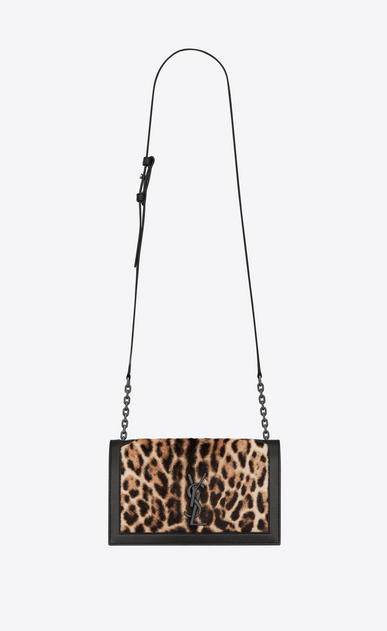 SAINT LAURENT Book bag Damen Book Bag Satcheltasche aus schwarzem Leder und Kalbsleder mit Ozelotfell-Finish a_V4