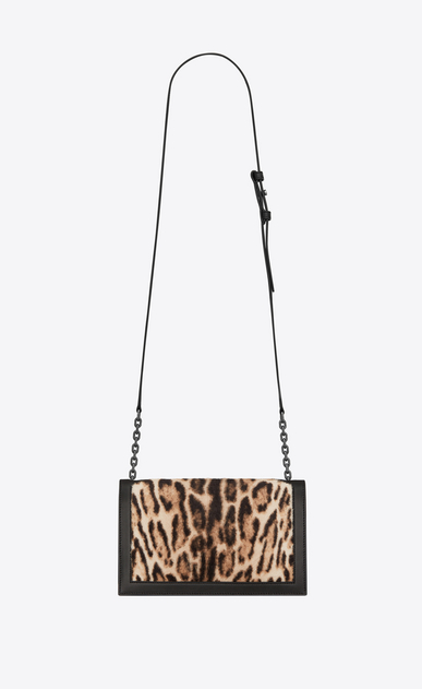 SAINT LAURENT Book bag Damen Book Bag Satcheltasche aus schwarzem Leder und Kalbsleder mit Ozelotfell-Finish b_V4